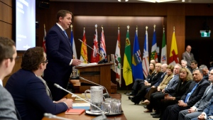 Conservative Leader Andrew Scheer delivers remarks to caucus colleagues during the Conservative caucus retreat on Parliament Hill in Ottawa, on Friday, Jan. 24, 2020. THE CANADIAN PRESS/Justin Tang