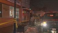 Two people were taken to hospital following a fire at a building on Weston Road, near Eglinton Avenue.