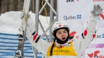Mikael Kingsbury, of Deux-Montagnes, Que. reacts to his score at the freestyle world cup moguls event Saturday, January 25, 2020 at Mont-Tremblant Quebec. Kingsbury won the event. THE CANADIAN PRESS/Jacques Boissinot