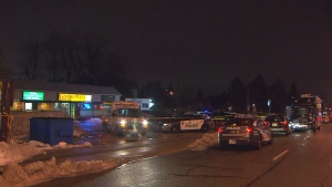 Police say three people suffering from gunshot wounds were located inside a restaurant in the area of Markham and Kingston Roads.