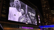 A tribute to Kobe Bryant is displayed at the big screen in Maple Leaf Square on Jan. 26.