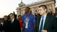 "In this Sept. 29, 2011, file photo, U.S. basketball player Kobe Bryant arrives at the Campidoglio, or capitol hill, in Rome, Italy. In Europe where Bryant grew up, the retired NBA star is being remembered for his ""Italian qualities."" Italian basketball federation president Giovanni Petrucci tells The Associated Press that Bryant is ""particularly important to us because he knew Italy so well, having lived in several cities here.  He had a lot of Italian qualities."" (AP Photo/Riccardo De Luca, File)"