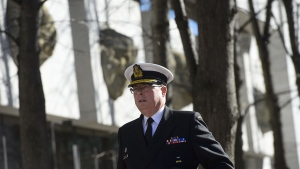 Vice Admiral Mark Norman arrives at court in Ottawa on Tuesday, April 19, 2019. The federal government says it rang up more than $1.4 million in legal costs during the failed prosecution of retired vice-admiral Mark Norman. THE CANADIAN PRESS/Sean Kilpatrick