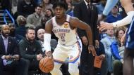 Oklahoma City Thunder guard Luguentz Dort (5) drives the basket in the second half of an NBA basketball game agaisnt Dallas Mavericks, Monday, Jan. 27, 2020, in Oklahoma City. (AP Photo/Kyle Phillips)