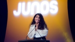 Canadian singer-songwriter Alessia Cara speaks as she was announced as the new host for the Junos during the 2020 Juno Award nominee press conference in Toronto on Tuesday, January 28, 2020. THE CANADIAN PRESS/Nathan Denette