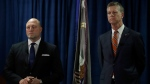 John F. Bennett, Special Agent in Charge, Federal Bureau of Investigation, left, and David L. Anderson, U.S. Attorney for the Northern District of California take questions during a media conference Tuesday, Jan. 28, 2020, in San Francisco. (AP Photo/Ben Margot)