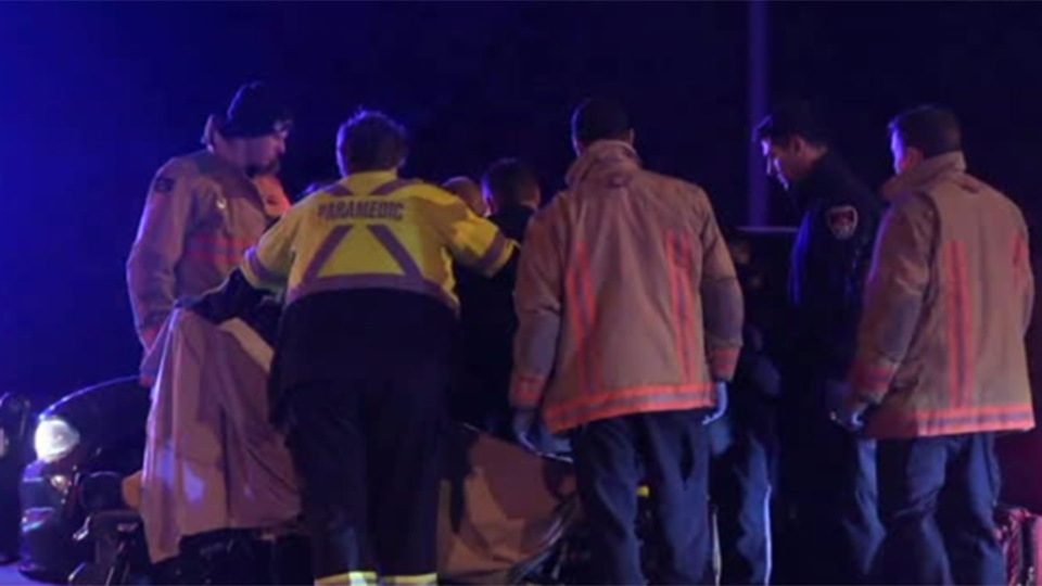 Emergency crews respond after a an OPP officer was struck by a vehicle at the intersection of Highway 6 and Parkside Drive in Hamilton Tuesday January 28, 2020.