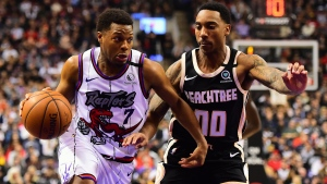 Toronto Raptors guard Kyle Lowry (7) drives to the net against Atlanta Hawks guard Jeff Teague (00) during the first half of NBA basketball action in Toronto on Tuesday, January 28, 2020. THE CANADIAN PRESS/Frank Gunn