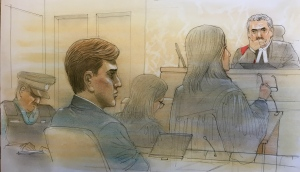 Kalen Schlatter appears in court on Jan. 30, 2020. (John Mantha/CTV News Toronto)