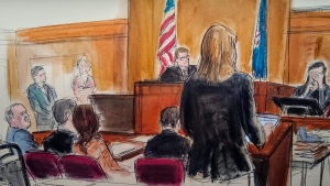 "In this courtroom sketch, a witness weeps as she testifies during the Harvey Weinstein trial, Friday, Jan. 31, 2020, in New York. A key accuser in Weinstein's trial testified Friday that he trapped her in a New York hotel room, angrily ordered her to undress and raped her, but that she stayed in contact with him because ""his ego was so fragile"" and she wanted to be seen as naive. (Elizabeth Williams via AP)"