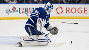 Toronto Maple Leaf goalie Kasimir Kaskisuo makes a save against the Ottawa Senators during third period NHL pre-season action in St. John's, N.L. on Tuesday, Sept. 17, 2019. THE CANADIAN PRESS/Joe Chase