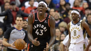 Toronto Raptors forward Pascal Siakam (43) reacts after a non-call during second half NBA action against the Indiana Pacers in Toronto on Wednesday, Feb. 5, 2020. THE CANADIAN PRESS/Nathan Denette