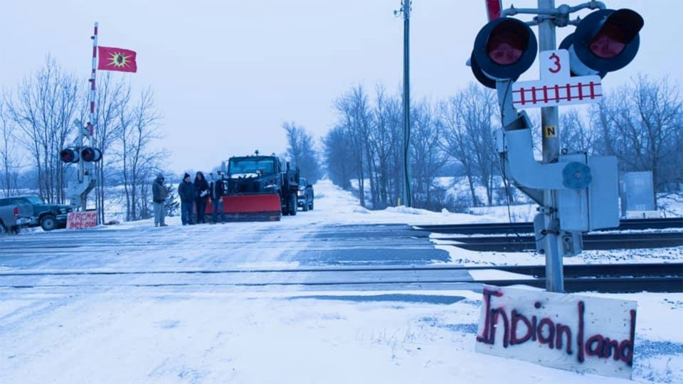 First Nations protesters block rail tracks east of Belleville, Ont. during a protest Friday, February 7, 2020. (DelReace Maracle /Facebook)