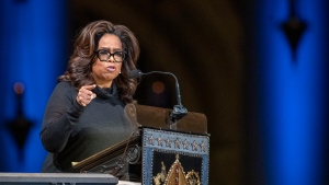 FILE - In this Nov. 21, 2019 file photo, Oprah Winfrey speaks during the Celebration of the Life of Toni Morrison at the Cathedral of St. John the Divine in New York. Winfrey says her friend Gayle King is facing death threats following a social media backlash caused by an interview with WNBA star Lisa Leslie that concerned the late Kobe Bryant. (AP Photo/Mary Altaffer, File)