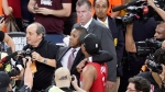 Toronto Raptors general manager Masai Ujiri, centre left, walks with guard Kyle Lowry after the Raptors defeated the Golden State Warriors in Game 6 of basketball's NBA Finals in Oakland, Calif. on Thursday, June 13, 2019. A sheriff's deputy is suing Toronto Raptors president Masai Ujiri for damages, alleging he was injured in a shoving altercation at Oakland's Oracle Arena during last year's NBA Finals. THE CANADIAN PRESS/AP, Tony Avelar