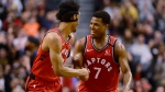 Toronto Raptors guard Kyle Lowry (7) celebartes his three-pointer with teammate Patrick McCaw (22) during second half NBA basketball action in Toronto, Monday, Feb. 10, 2020. THE CANADIAN PRESS/Frank Gunn