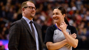 Toronto Raptors coach Nick Nurse and referee Lauren Holtkamp share a laugh during first half NBA basketball action in Toronto, Monday, Feb. 10, 2020. THE CANADIAN PRESS/Frank Gunn