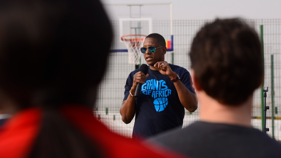 Toronto Raptors president Masai Ujiri takes part in a basketball event with young basketball players in Dakar, Senegal on Wednesday, Feb. 12, 2020. THE CANADIAN PRESS/Sean Kilpatrick