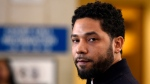 In this March 26, 2019, file photo, actor Jussie Smollett talks to the media before leaving Cook County Court in Chicago. (AP Photo/Paul Beaty, File)