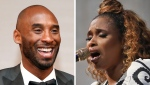 "FILE - At left, in a March 4, 2018, file photo, Kobe Bryant attends the Governors Ball after the Oscars in Los Angeles. At right, in a May 28, 2019, file photo, Jennifer Hudson sings ""Amazing Grace"" in tribute to Aretha Franklin during the 2019 Pulitzer Prize winners awards luncheon at Columbia University in New York. Jennifer Hudson is coming to the All-Star Game to pay tribute to Kobe Bryant with her voice. (AP Photo/File)"
