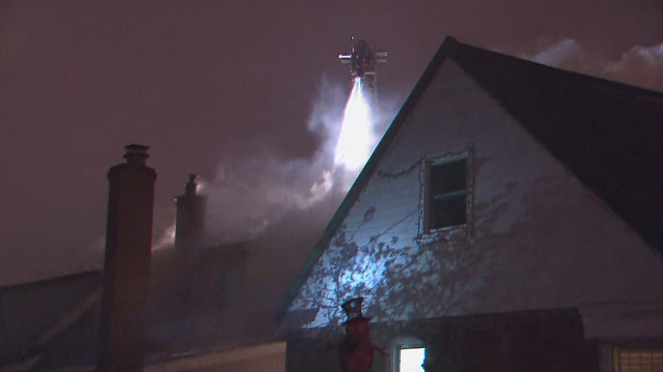 Toronto fire crews begun aerial operations to battle a house fire in Scarborough on Thursday night.