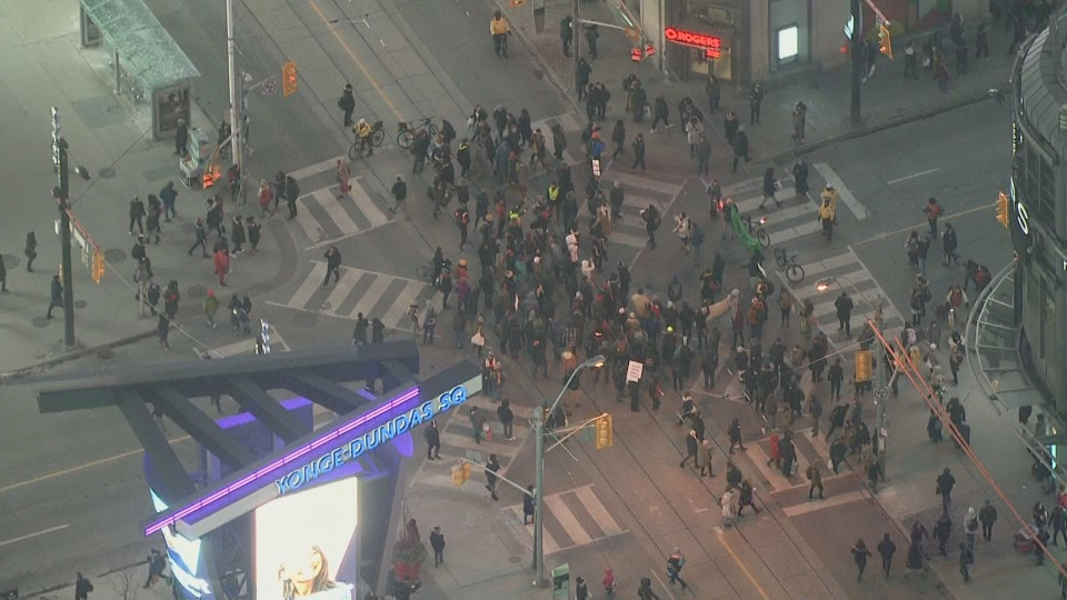Dozens of protesters blocked Yonge and Dundas Friday in support of the Wet'suwet'en hereditary chiefs who are opposing a pipeline on their territory.