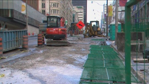 A section of Yonge Street is closed due to a water main break.