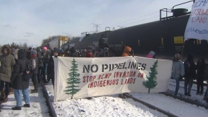 A Wet'suwet'en solidarity protest is blocking trains at a rail yard in Vaughan.
