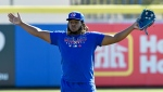Toronto Blue Jays infielder Vladimir Guerreron Jr. waits to take grounders at the team's spring training facilities in Dunedin, Fla., Saturday, Feb. 15, 2020. THE CANADIAN PRESS/Steve Nesius
