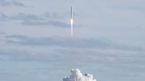 The Northrop Grumman Antares rocket with Cygnus resupply spacecraft onboard, launches at NASA's Wallops Flight Facility on Saturday, Feb. 15, 2020 in Wallops Island, Va. (Aubrey Gemignani/NASA via AP)
