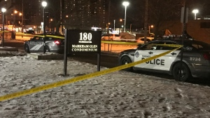 Police say a man was stabbed in the lobby of an apartment building in the area of Markham Road and Eglinton Avenue East on Saturday, Feb. 15, 2020.