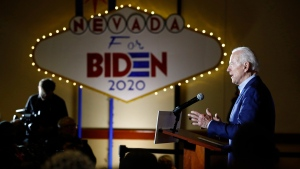 Democratic presidential candidate, former Vice President Joe Biden speaks at a campaign event, Saturday, Feb. 15, 2020, at the Culinary Academy in North Las Vegas, Nev. (AP Photo/Patrick Semansky)