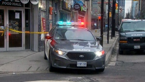 police cruiser at downtown shooting scene