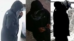 A man wanted in connection with a robbery investigation is seen in these surveillance camera images. (Toronto Police Service)
