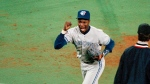 Toronto Blue Jays' Tony Fernandez reacts after a double play to get Philadelphia a Phillies' John Kruk and Dave Hollins during the seventh inning of Game 3 of the World Series on, Oct. 19, 1993 in Philadelphia. (AP Photo/Doug Mills)