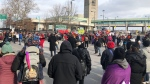 Hundreds of people gathered for a solidarity protest at the Rainbow International Bridge in Niagara Falls on Sunday, Feb. 16, 2020.