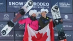 Gold medalist Laurie Blouin of Canada celebrates with Men's bronze medalist Liam Brearley of Canada in the finals of the FIS Snowboard World Cup, Snowboard Slopestyle, in Calgary, Alta., Sunday, Feb. 16, 2020. THE CANADIAN PRESS/Dave Chidley