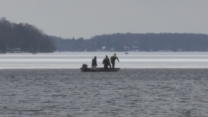 A snowmobiler who fell through the ice on Lake Simcoe Sunday morning was found dead, OPP say.