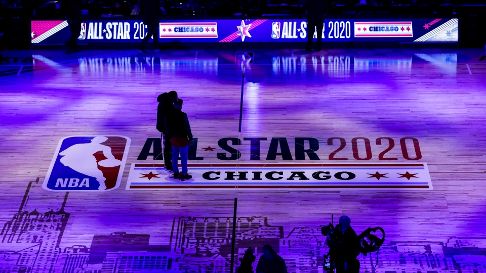 Workers stand on the court at United Center before the NBA All-Star basketball game Sunday, Feb. 16, 2020, in Chicago. (AP Photo/Nam Huh)
