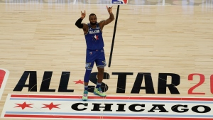 LeBron James of the Los Angeles Lakers celebrates during the second half of the NBA All-Star basketball game Sunday, Feb. 16, 2020, in Chicago. (AP Photo/David Banks)