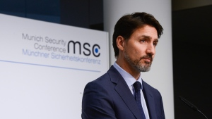 Prime Minister Justin Trudeau holds a closing press conference following the Munich Security Conference, in Munich, Germany, Friday, Feb. 14, 2020. THE CANADIAN PRESS/Sean Kilpatrick
