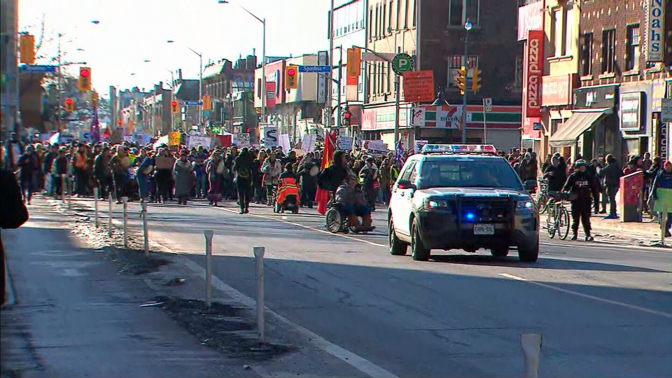 Hundreds of people marched down Bloor Street in Toronto on Feb. 17, 2020 in solidarity with the Wet'suwet'en people.
