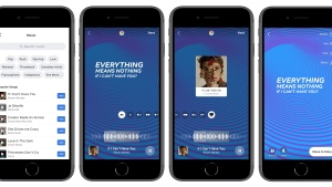 A new in app music component on Facebook stories is seen on phones in this handout photo. It's been a long time coming, but music features are finally being enabled on Facebook and Instagram in Canada. THE CANADIAN PRESS/HO, Facebook *MANDATORY CREDIT*