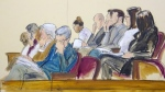 In this courtroom sketch, the jury in Harvey Weinstein's rape trial listens to a read back of Miriam Haley's testimony in Manhattan Supreme Court, Wednesday, Feb. 19, 2020, in New York. (Elizabeth Williams via AP)