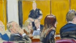In this courtroom sketch, Harvey Weinstein, left, sits with his attorneys in Manhattan Supreme Court as the jury deliberates a verdict in his rape trial, Wednesday, Feb. 19, 2020, in New York. (Elizabeth Williams via AP)