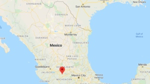 Coeneo, Mexico is indicated on this map. (Google)