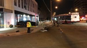 Police are investigating after a vehicle crashed into a condo building in North York. (Michael Nguyen/ CP24)