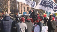 Teachers head to Queen's Park as Ontario's four major teachers' unions hold a one-day strike on Friday.