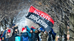 Approximately 20,000 teachers from the Peel District School Board hold a one day strike in Mississauga, Ont., on Friday, February 21, 2020. (Nathan Denette/The Canadian Press)