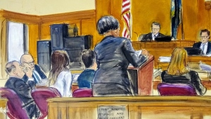 In this courtroom sketch, Harvey Weinstein, far left, pops mints into his mouth while listening with his defense team during the read-back of Annabella Sciorra's cross examination, Friday, Feb. 21, 2020 in Manhattan Supreme Court in New York. The transcript of the testimony was read back by the court stenographers. (Elizabeth Williams via AP)